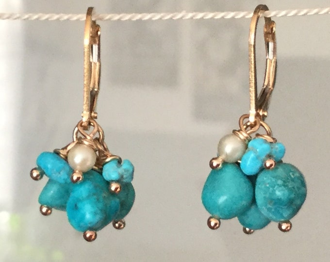 14k Gold Filled Turquoise Cluster Earrings with Pearl, Earrings for Women, Turquoise Jewelry, Gift for Women and Girls