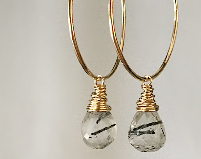 Handcrafted 14k Yellow Gold Filled Endless Hoops with Rutilated Quartz Crystal Drop