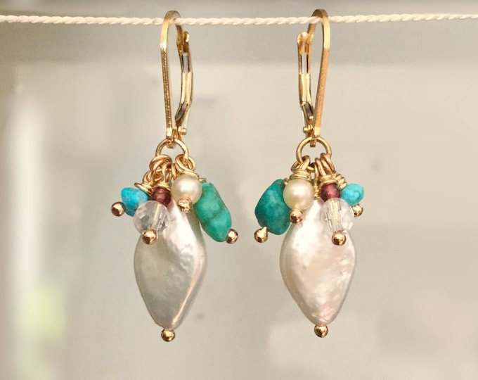 14k Gold Filled Diamond Shaped Freshwater Pearl Earrings with Turquoise , Pearl Earring for Women, Turquoise jewelry for Women, Gold Jewelry