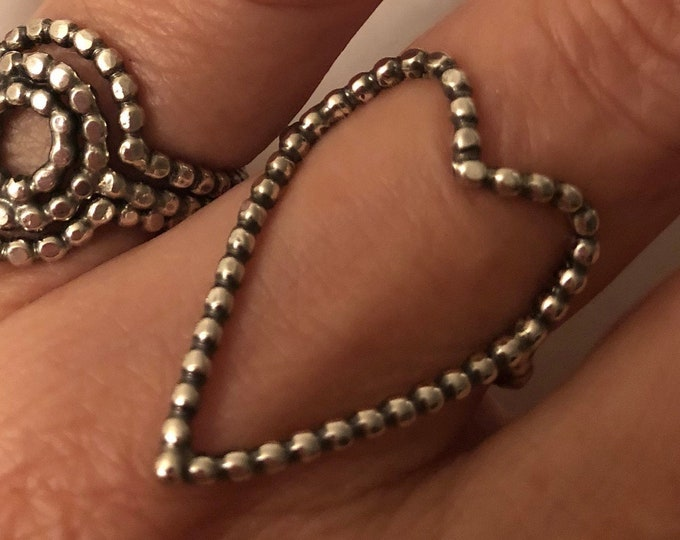 Handcrafted Pebbled Sterling Silver Open Heart Ring, All Sizes