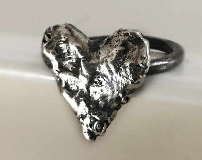 Large Handcrafted Sterling Silver Heart Ring Size 8