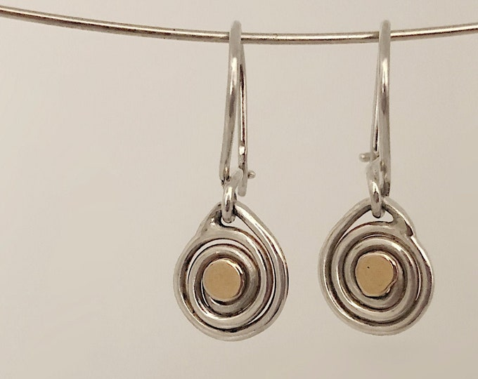 Small Handcrafted Spiral Earrings With 14k Gold Detail