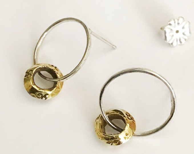 Minimal Sterling Silver Circle Stud Earrings with Ethiopian Brass Detail