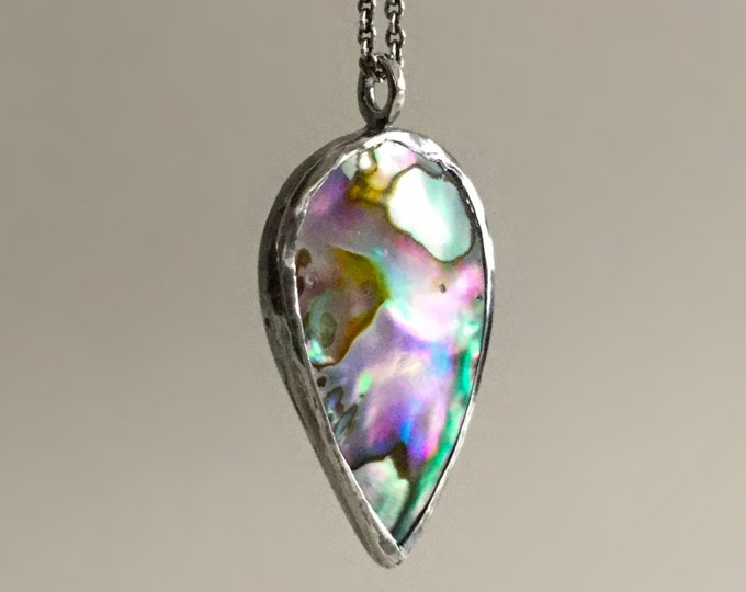 Natural Abalone Shell Upside Down Drop Necklace in Oxidized Fine Silver