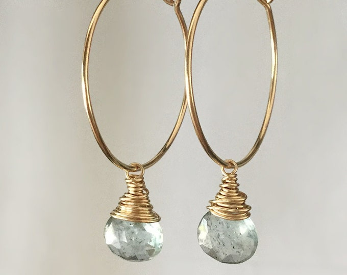 Handcrafted 14k Yellow Gold Filled Hoop Earrings with Aquamarine Drop