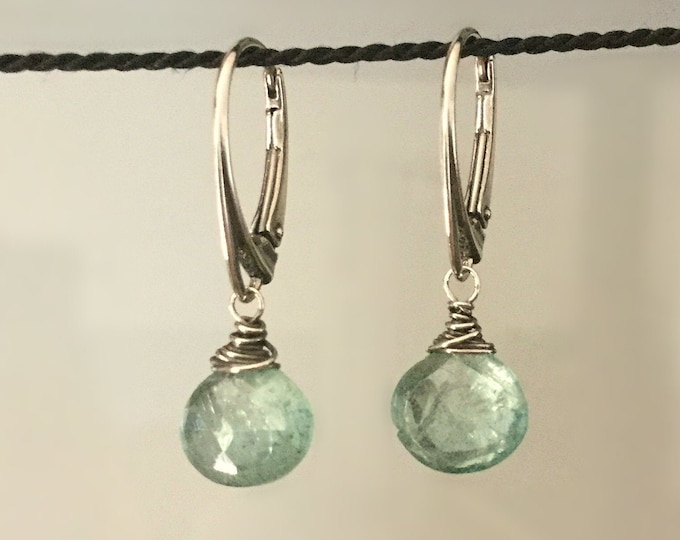 Sterling Silver Wire-Wrapped Aquamarine Drop Earrings