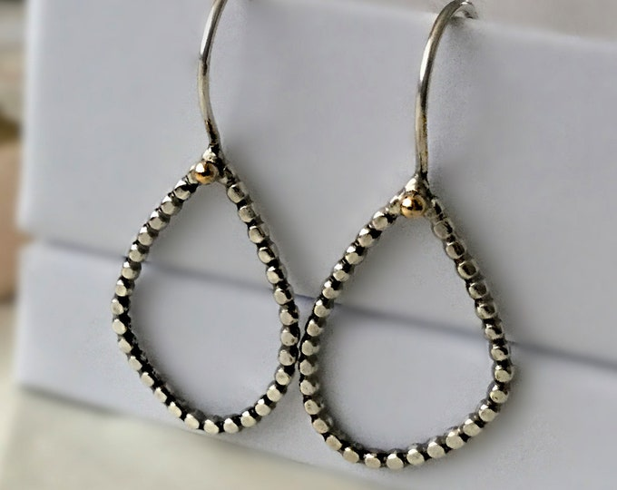 Handcrafted Sterling Silver Hoop Earrings with 14k Yellow Gold Pebble