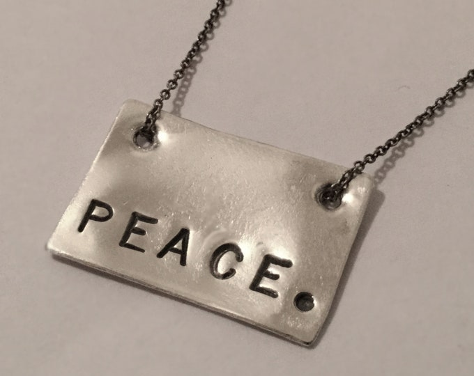 Sterling Silver Peace. Tag Necklace
