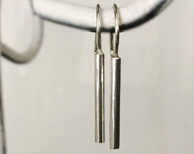 Handcrafted Sterling Silver Bar Earrings