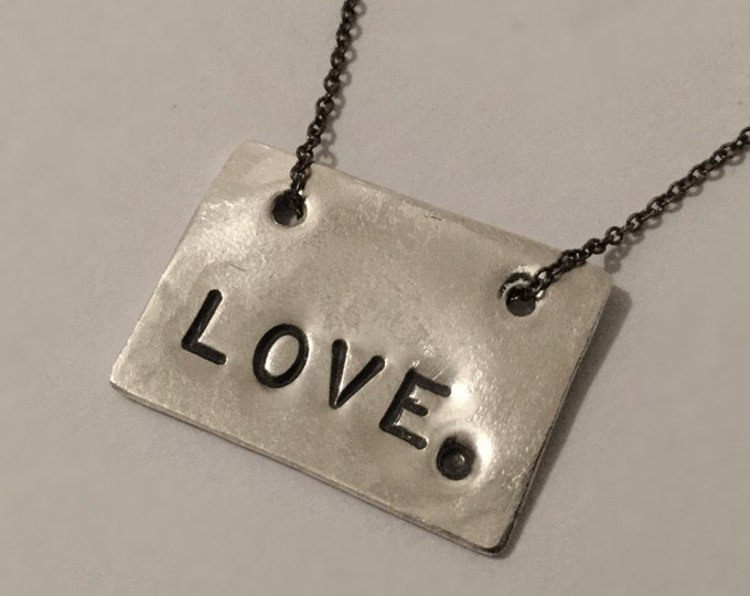 Sterling Silver LOVE. Tag Necklace