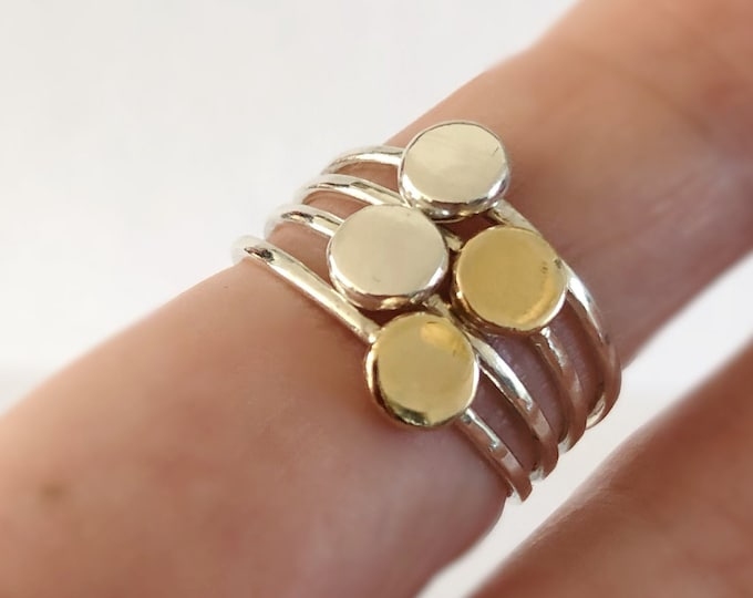 14k Gold and Sterling Silver Minimal Stacking Rings, Mixed Metal Stack Rings for Women, All Sizes,  Tiny Coin Rings