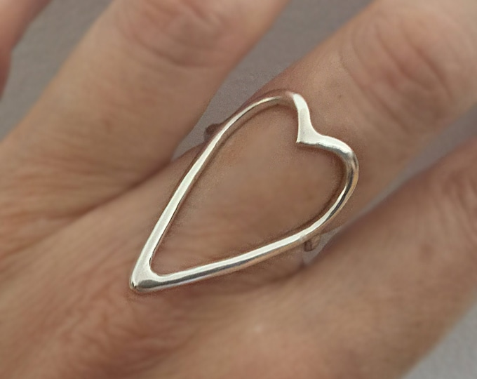 Handcrafted Sterling Silver Statement Heart Ring 12gauge, All Sizes