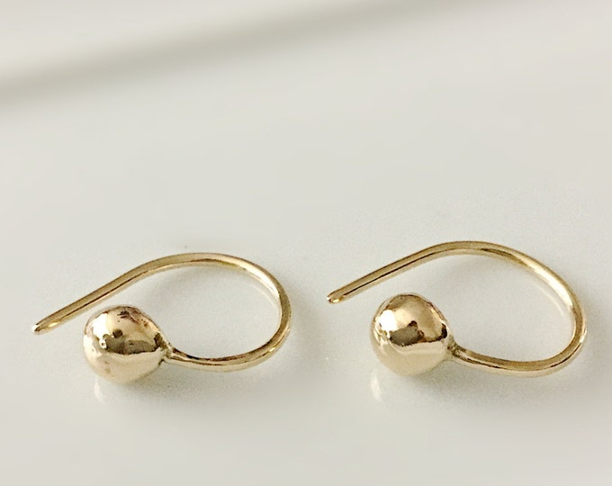 Handcrafted Organic Solid 14k Yellow Gold Little Nugget Earrings