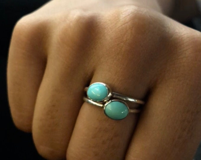 Delicate Handcrafted Sterling Silver Ring with Mexican Turquoise/Moonstone/ Lapis Lazuli