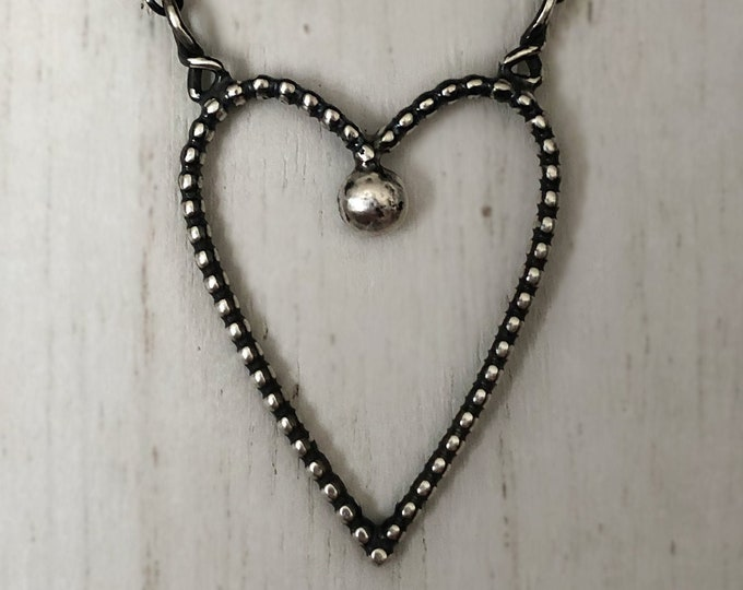 Handcrafted Sterling Silver Heart Necklace, Adjustable
