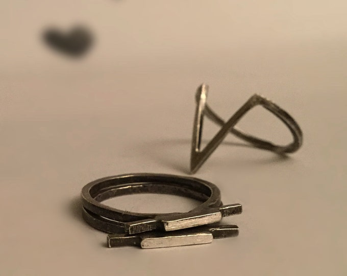 Delicate Sterling Silver Square Wire Bar Ring