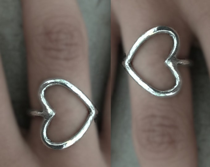 Handcrafted Sterling Silver Sideways Heart Ring