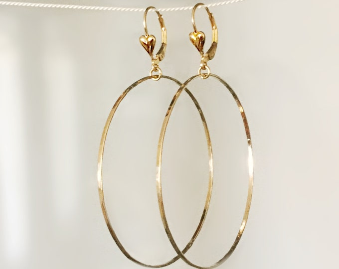 Large Delicate 14k Gold Filled Hoop Earrings with Heart Shaped Lever Back