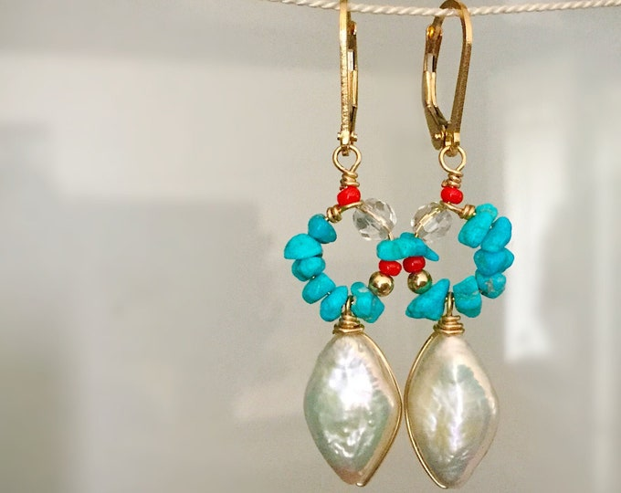 Freshwater Pearl and Turquoise Earrings in 14k Gold Filled  with Crystal Quartz andSeed Beads