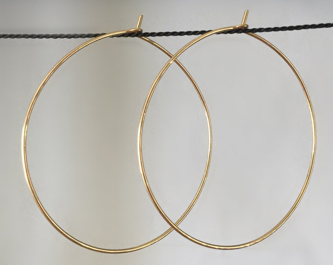 Large Handcrafted 14k Yellow Gold Filled Endless Hoop Earrings 18gauge