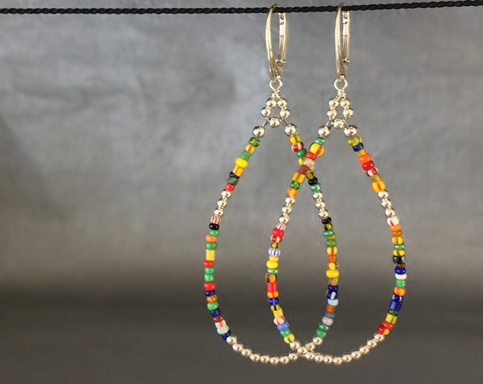 Handcrafted Long Beaded Earrings with Sterling Silver and African Trade Beads