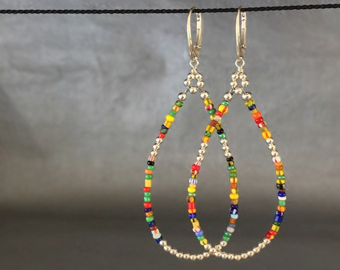 Colorful Handcrafted Long Beaded Earrings with Sterling Silver and African Trade Beads