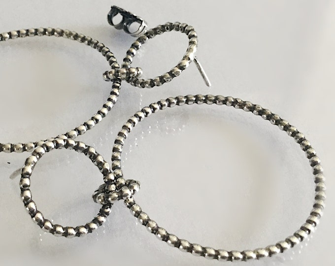 Handcrafted Sterling Silver Pebbled Hoop Earrings 2.2mm