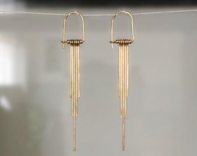 Long 14k Gold Filled/ Sterling Silver Tassel Earrings for Women
