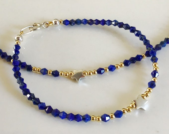 Blue Lapis Lazuli Bracelet, Lapis Choker Necklace with Silver Star and Gold Filled Beads