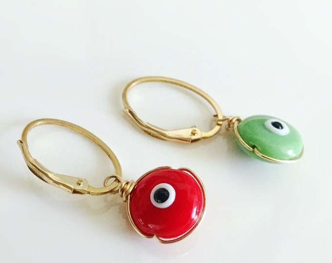 14k Gold Filled Evil Eye Earrings, Red/Green Murano Glass, Small Gold Hoops with Evil Eye