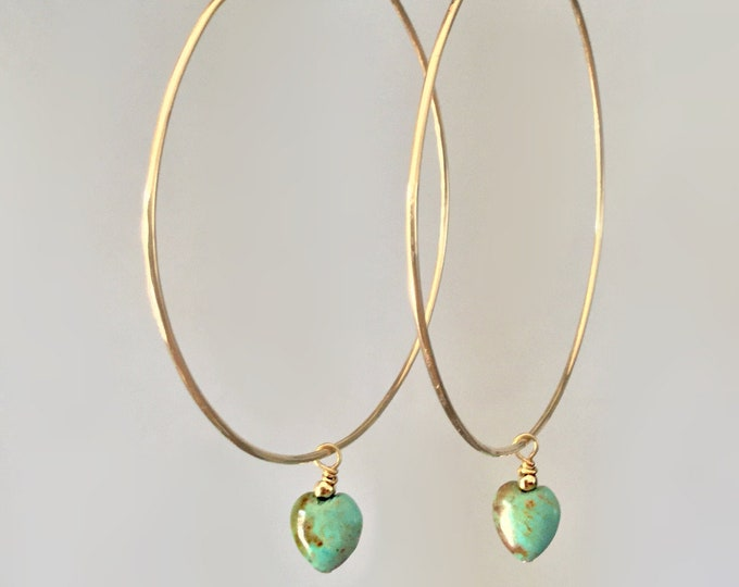 Handcrafted 14k Yellow Gold Filled  Endless Hoop Earrings with African Turquoise Heart and 18k Gold Bead