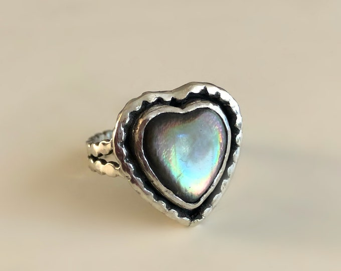 Handcrafted Sterling Silver and Mother Of Pearl Heart Ring Size 7.5