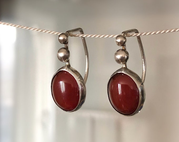 Handcrafted Sterling Silver Earrings with Carnelian