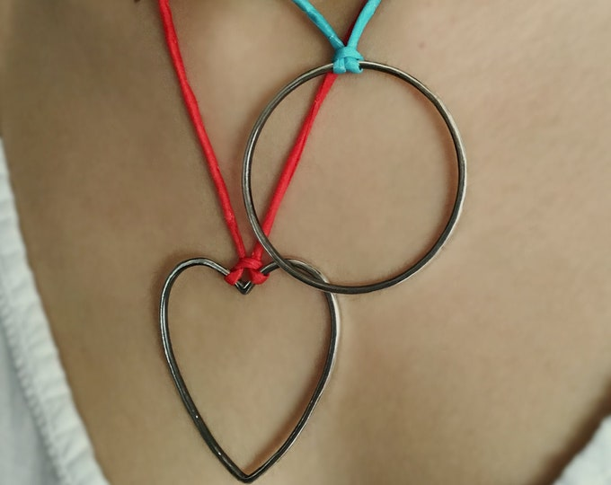 Handcrafted Large Sterling Silver Open Heart/ Circle on Adjustable Silk Cord