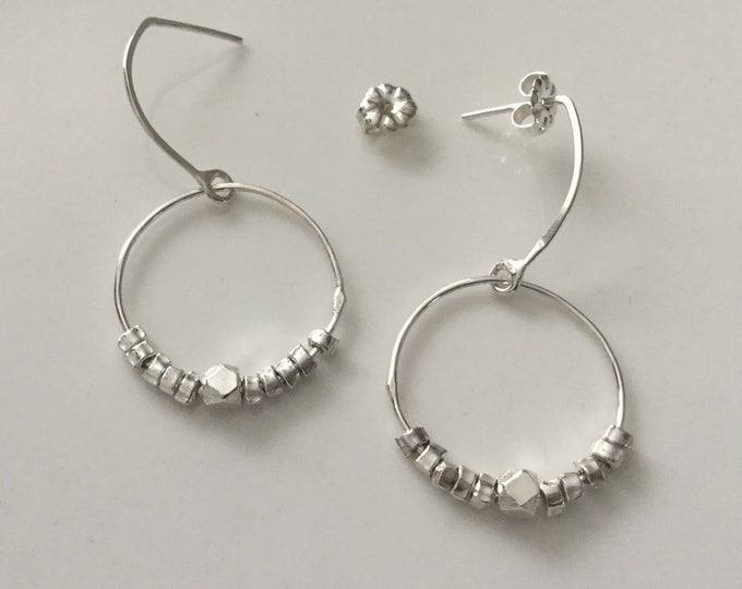 Handcrafted Delicate Sterling Silver Hoop Earring with Hill Tribe Silver Accents