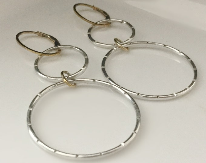 Sterling Silver Hoop Earrings with 14k Gold Filled Accent, Light Weight