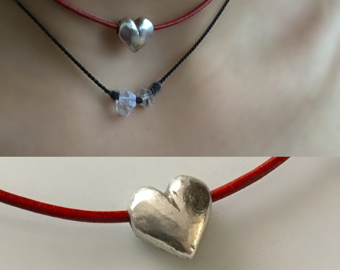 Sterling Silver Heart Choker on Red/ Black Leather Cord