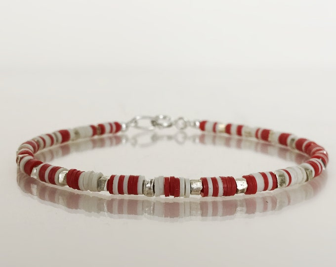 Fabulous Stacking Bracelet with Hill Tribe Silver and African Vinyl Beads