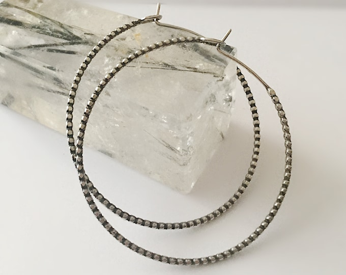 Large Handcrafted Sterling Silver Pebbled Hoop Earrings