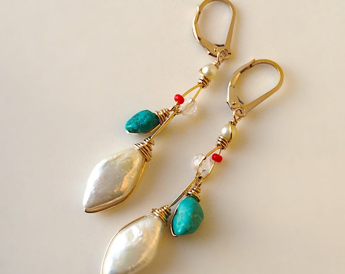 Long Summer Earrings with White Pearl, Turquoise and Quartz Crystal, 14k Gold Filled Pearl Earrings for Women, Summer Earrings with Pearl