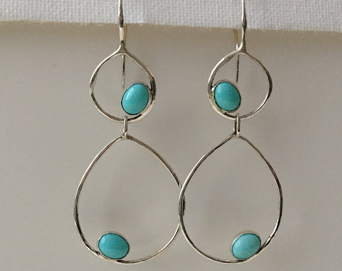 Handcafted Sterling Silver and Mexican Turquoise Double Hoop Earrings