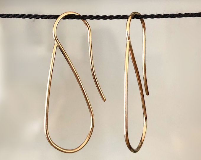 Easy Handcrafted Hoops Solid 14 Karat/ 14k Yellow Gold Filled /Sterling Silver Threader Drop Shaped Hoop Earrings