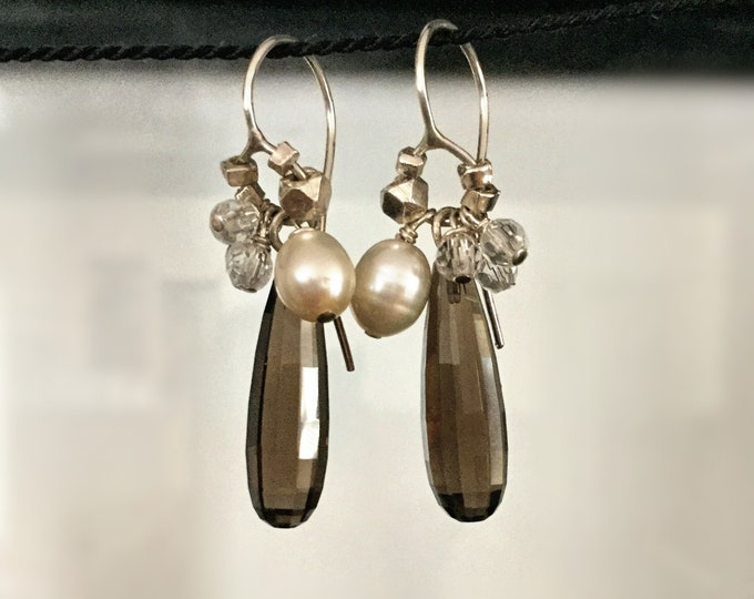Handcrafted Sterling Silver Earrings with Faceted Smokey Quartz Crystal Briolettes, Pearl, Crystal and Hill Tribe Silver
