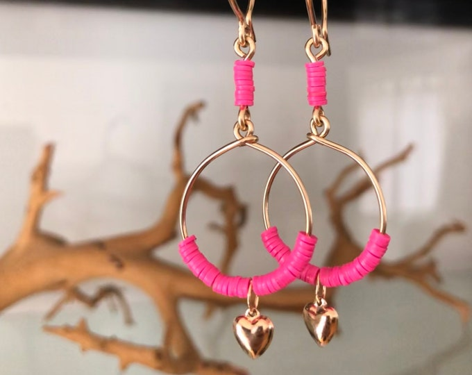 Handcrafted 14k Goldfill Hoop Earrings with Hot Pink African Vinyl Beads