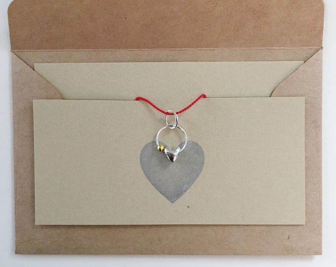 Handcrafted Sterling Silver Heart Charm with 18k Yellow Gold Bead