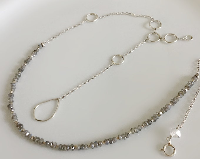 2 In 1 Sterling Silver and Labradorite Necklace with Hill Tribe Silver Beads
