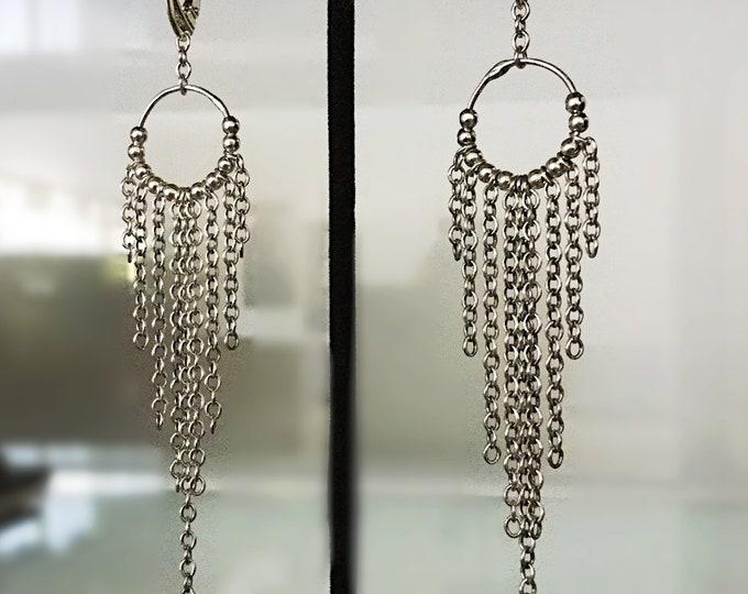 Handcrafted Sterling Silver Dream Catcher Hoop Earrings