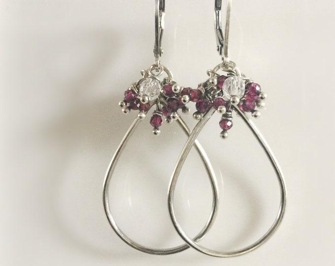 Sterling Silver Drop Earrings with Lapis Lazuli/ Garnet/ Black Spinel for Women, Handmade Silver Earrings for Women, Gift for Her