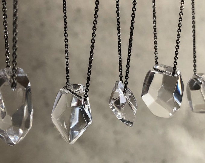 Faceted Quartz Crystal Nugget on Skinny Sterling Silver Chain