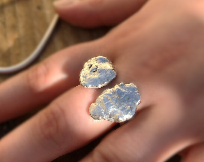 Large Handcrafted One of a Kind Open Sterling Silver Ring, Size 7.5